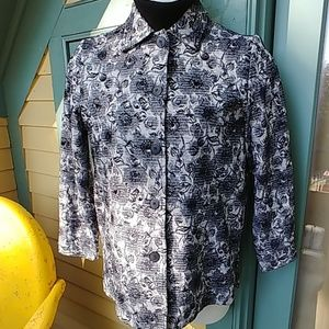 Vintage Floral Town & Travel Black White Jacket
